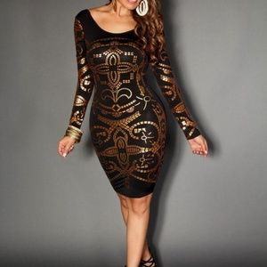 Dresses & Skirts - New black and gold bodycon dress